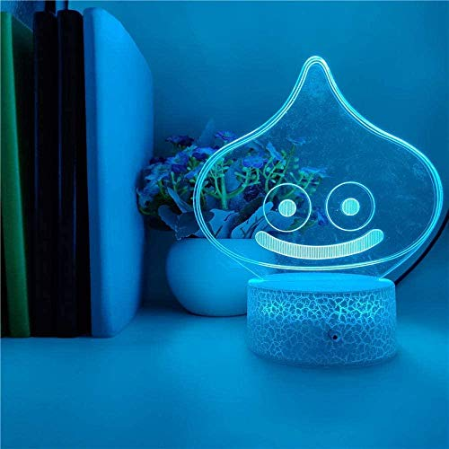 BTEVX 3D Illusion Lamp Led Night Light Visual Cute Anime Characters Slime Atmosphere Battery Powered for Indoor Decoration Smart Control Table Lamp