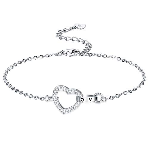 F.ZENI Women Bracelet 925 Silver Love Heart Bracelet Interlocking Heart Bracelets for Women Jewellery Gift with An Elegant Gift Box