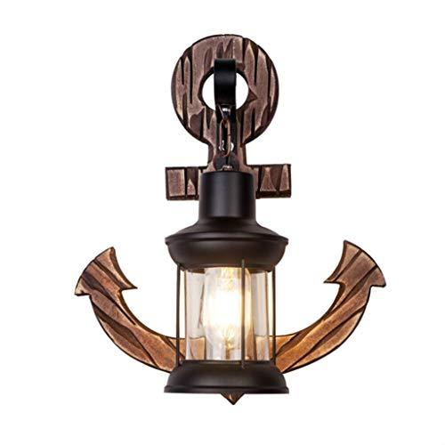 WJLL Lámpara de Pared Industrial Retro de Hierro Forjado Personalidad Ancla Antigua Luz de Pared Interior de Madera Maciza E27 lámpara de Noche Sala de Estar Dormitorio iluminación Apliques