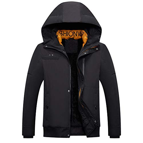 Review Letdown_Men Hoodies Men Winter Jackets with Hooded Winter Thicken Warm Solid Lightweight Wind...