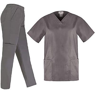 PERLLI Scrubs for Women 5 Pockets Medical Scrub Set with V-Neck Scrub Top & Comfortable Cargo Pants Grey