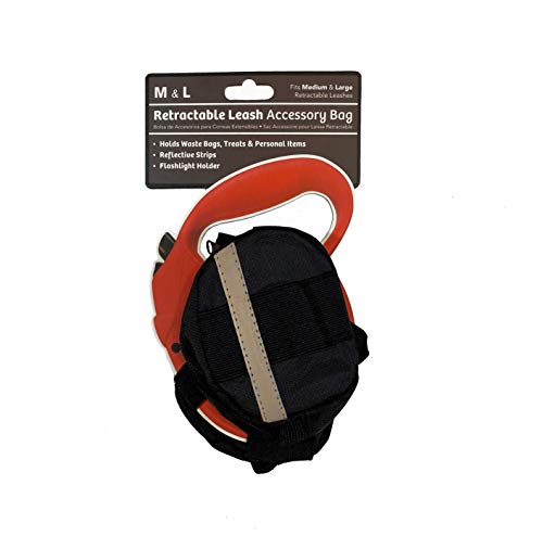 Doggo Retractable Leash Accessory Bag for Large Retractable Leashes, Black