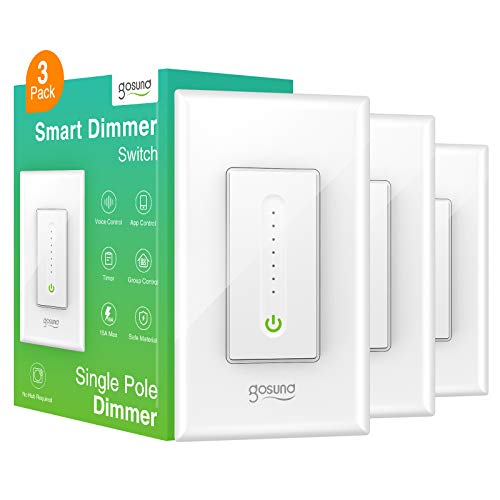 Smart Dimmer Switch, WiFi Smart Light Switch Work with Alexa and Google Home, Single-Pole, Remote Control, No Hub Required,Neutral Wire Required, Etl and Fcc Listed,3 Pack