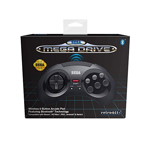 Retro-Bit Official SEGA Mega Drive Wireless Bluetooth Controller 8-Button Arcade Pad for PC, Switch, Mac, Steam, RetroPie, Raspberry Pi - Black