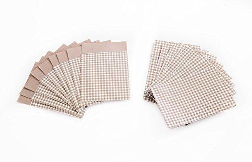100 Stück kleine Mini-Tüte Papiertüte Papier-Flachbeutel 7 x 9 + 2 cm beige hell-braun weiß cappuccino kariert Verpackung Kleinigkeit Gastgeschenk Mitgebsel give-away Geschenke