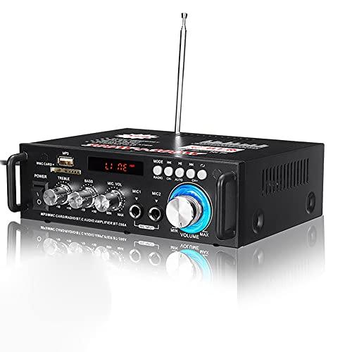 N / C Sistema de Amplificador estéreo Bluetooth Power 5.0 con Control Remoto, Mini Amplificador Integrado de Karaoke de Alta fidelidad, Bluetooth inalámbrico 298A para Entretenimiento de Cine en casa