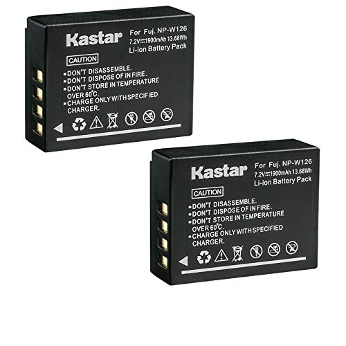 Kastar 2-Pack Battery Replacement for Fujifilm NP-W126, NP-W126s Battery, BC-W126 Charger, Fujifilm X-E1, X-E2, X-E2S, X-E3, X-H1, X-M1, X-S10, X-T1, X-T2, X-T3, X-T10, X-T20, X-T30, X-T100, X-T200