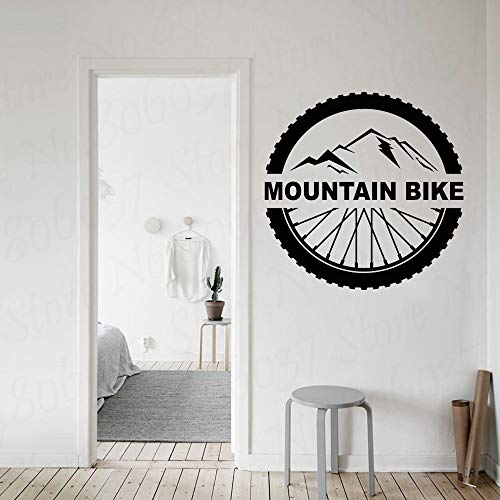 Mountain bike wall decals lettering extreme sports bike wheels vinyl stickers home decoration 42X42cm