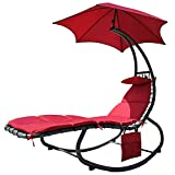BalanceFrom Hanging Rocking Curved Chaise Lounge Chair Swing with Cushion, Pillow, Canopy, Stand and Storage Pouch, 330-Pound Capacity