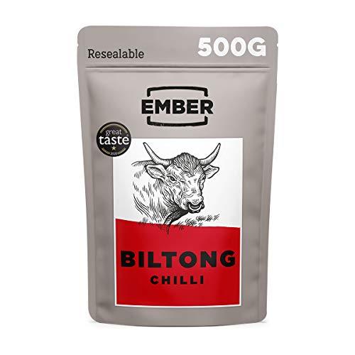 Ember Biltong 500g – Carne Secca Beef Jerky Chile – Snack Proteico, Senza Zuccheri Aggiunti – Gusto Chilli (2x250g)