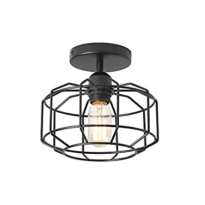 Industrial 3-Light Rustic Semi Flush Mount Ceiling Light, with Metal Cage for Kitchen, Living Room, Dining Room, Bedroom, Hallway, Stairway
