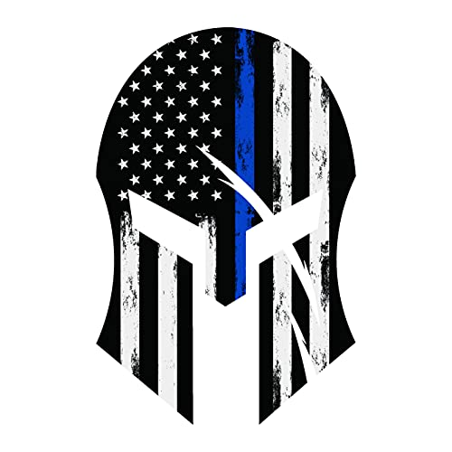 GRITKULTURE Spartan Helmet 5.5 Inch X 4 Inch Thin Blue Line Punisher Window Decal Sticker Police Blue Line Sticker 2X3 US American Flag Decal Packs Flag Cars Back the Blue Flag Car Stickers Bumper Law Enforcement Stickers and Truck Stickers Blue Lives Matter