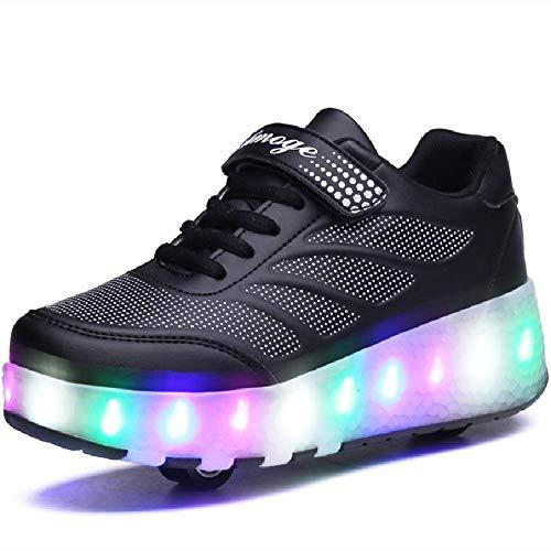 YSTHEZ Roller Skate Schuhe Jungen Mädchen Turnschuhe USB-Ladewalze Skate-Schuhe LED-Licht-Räder Zwei Räder Schuhe für Kinder Anfänger Geschenk,Schwarz,35