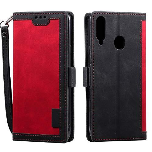 Docrax Galaxy A20S Handyhülle, Hülle Leder Case mit Standfunktion Magnetverschluss Flipcase Klapphülle kompatibel mit Samsung Galaxy A20S - DOHHA160090 Rot