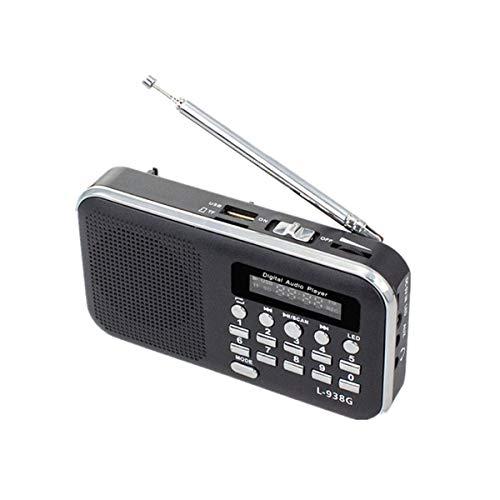Lsmaa Radio portátil con Linterna, Digital portátil USB FM TF Reproductor de mp3 Pantalla Led Recargable Antena telescópica, Apropiado for Escuchar Reproducción de música (Color : Black)