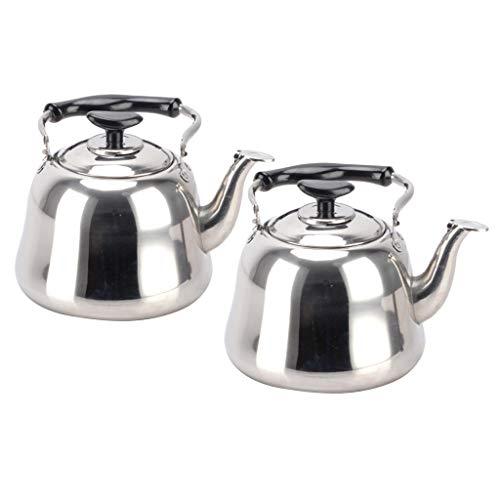 Gazechimp 2x Stainless Steel Whistling Kettle + Infuser Stovetop Teakettle Tea Pot 3L