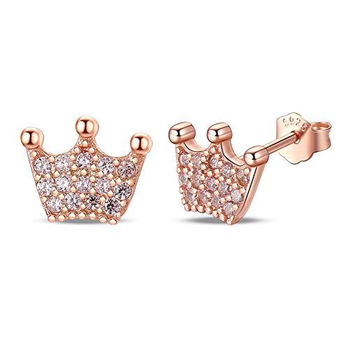AdronQ 925 Silver Princess Crown Ladies Transparente Cz Pendientes Regalo De Joyería De Moda