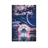 夜、生命の樹を横切る流星キャンバスポスター寝室の装飾スポーツ風景オフィスルームの装飾ギフトキャンバスポスター壁アートの装飾リビングルームの寝室の装飾のための絵画の印刷 20x30inch(50x75cm)