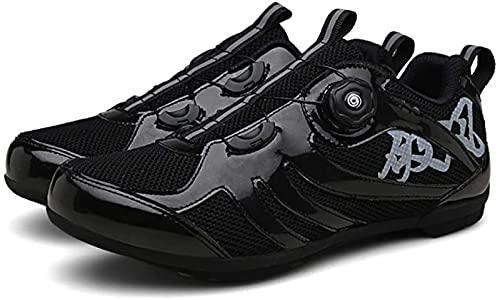 WYUKN - Zapatillas de ciclismo para hombre y mujer, transpirables, antideslizantes, zapatillas de ciclismo de carretera planas sin sistema de clic, reflexión nocturna, Black-44EU