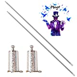 ROLLMOSS 2 Pack Pocket Staff, Retractable Collapsible Bo Staff, Professional Magician Stage Street Magic Performance Magic Staff, Expandable Staff for Adults, Gifts and Magicians (Silver)