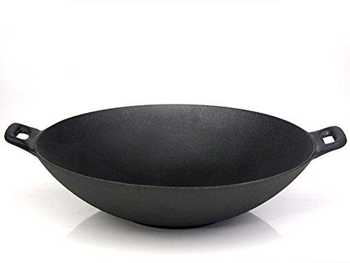 Santos Wok XXL aus Gusseisen für Gasgrill oder Kohlegrill | Durchmesser 36 cm