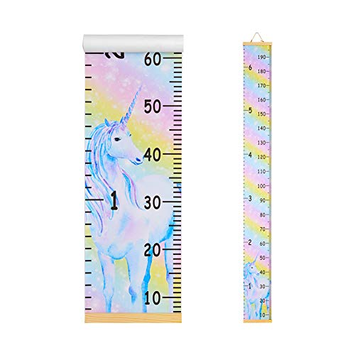 Basumee Height Chart for Kids Unicorn Wall Ruler Growth Chart Wood and Canvas Wall Decals 7.9x79 in