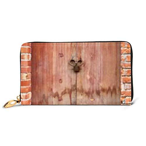 JHGFG Mode Handtasche Reißverschluss Brieftasche Alte Holztür Roter Backstein Telefon Kupplung Geldbörse Abendkupplung Blockieren Leder Brieftasche Multi Card Organizer