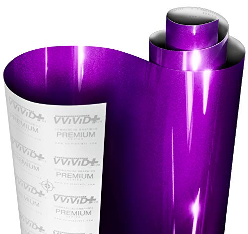 VViViD+ Ultra Gloss Candy Purple Vinyl Car Wrap Premium Paint Replacement Film Roll with Nano Air Release Technology, Stretchable Protective Cap Liner, Self Adhesive (6ft x 5ft)