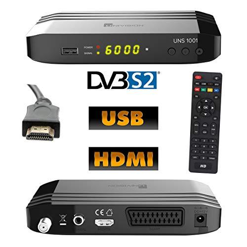 Univision UNS1001 digital Satelliten Sat Receiver (HDTV, DVB-S/S2, HDMI, Scart, Display, USB 2.0, EPG, Full HD 1080p)[vorprogrammiert für Astra Hotbird] - schwarz inkl. HDMI-Kabel 1,5 m