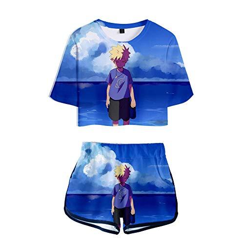 Pantalones Cortos De Camiseta Mujer Ropa Deportiva Pijamas Conjunto Anime Uzumaki Naruto Lindo Mangas Cortas Suave Sper Seco Tops Azul L