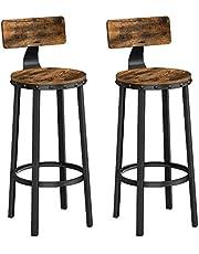 VASAGLE Barkruk, set van 2 barkrukken, keukenstoelen met stabiel metalen frame, zithoogte 73,2 cm, eenvoudige montage, industrieel ontwerp, vintage bruin-zwart LBC026B01
