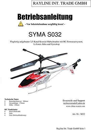 efaso Bedienungsanleitungen für Syma RC Modelle (Syma 032G)