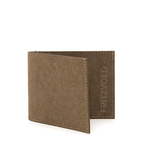 FRITZVOLD MINIMAL Wallet mit RFID-Schutz, kleines, dünnes Portemonnaie für Damen & Herren, extrem Flacher Geldbeutel, Slim Portmonee, Geldbörse aus waschbarem Papier-Kunstleder, braun