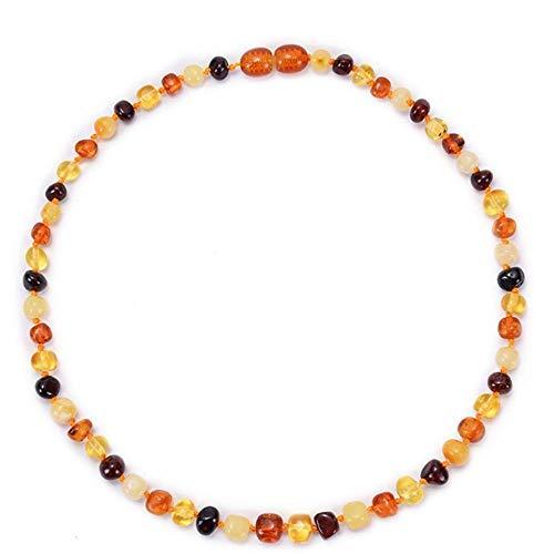 Natürliche Bernsteinkette Bernstein Kinderkrankheiten Halskette für Babys Kinder Bernstein Armband - Entzündungshemmender, natürlicher ovaler Schmuck-Mehrfarbig_40cm Halskette für Erwachsene