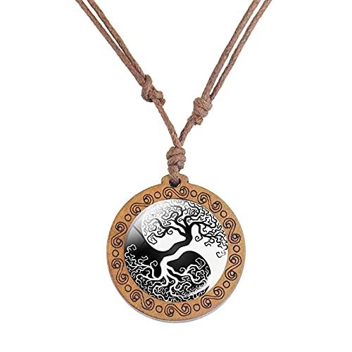 Cadena De Cuerda Vintage Collar De Madera Ying Yang Colgante Blanco Y Negro Símbolo De Mediación Arte De Madera Joyería Style14