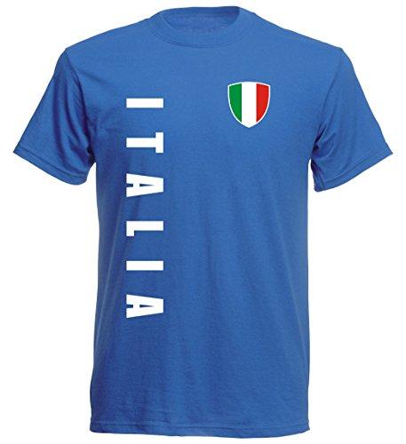 Italien Kinder T-Shirt - TS-10 - EM 2016 - blau - Fussball Trikot (116)