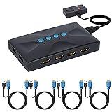 TCNEWCL Conmutador KVM de 4 Puertos, HDMI USB Switch con 4 Cables KVM, para 4 Dos Ordenador o Portátil, Raton y Teclado, Monitor, Impresora, Escáner