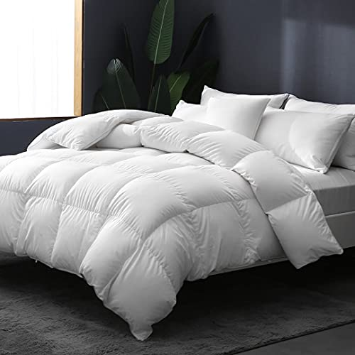 APSMILE Lightweight Goose Down Comforter King Size Cooling Duvet Insert - Ultra-Soft Egyptian Cotton, 750+ Fill Power 39oz Thin Bed Comforter for Warm Weather/Hot Sleepers, 106x90, Solid White