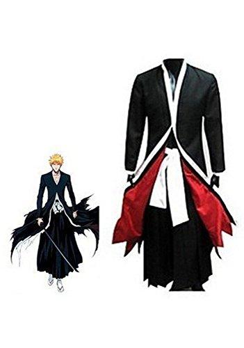 King Ma Japanese Anime Costumes Cosplay Bleach Ichigo Bankai Costume Set (M) Black