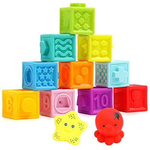 Baby Blocks Soft Easy to Squeeze Sensory Stacking Blocks for Babies Textured Educational Baby Baby Building Blocks with Animal Number Shape Textures for 6 Months & Up, 10-pcs with 2 Squeezers