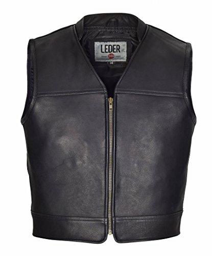 LEDER24H Schwarze Leder Motorradweste mit Kordel 1050-SP