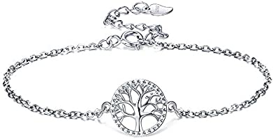 Lydreewam Tree of Life Bracelet for Women 925 Sterling Silver with Gift Box, Adjustable 16+3cm