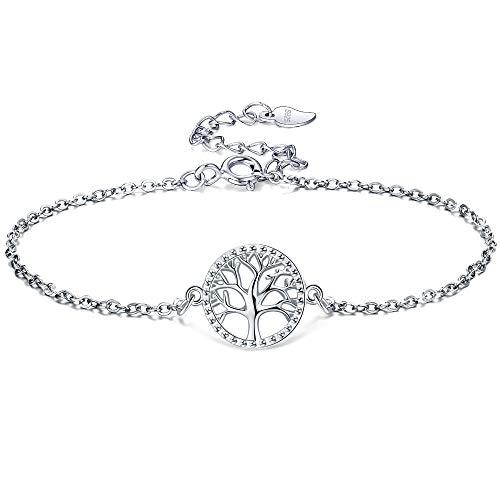 Lydreewam Lebensbaum Armband für Damen 925 Sterling Silber mit Geschenkbox, verstellbar 16+3 cm