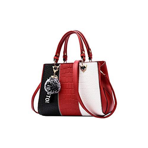 Tisdaini Bolsos de Mano Mujer Moda Sencillez Alta Capacidad Bolsos Bandolera Bolsos Totes Shoppers y Bolsos de Hombro Vino Rojo
