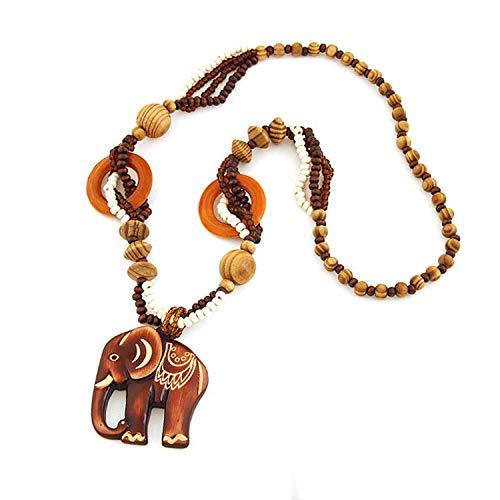 SwirlColor Fashion Bohemian Vintage Cuenta de Madera Étnica Colgante de Resina Elefante Suéter Largo Cadena Collares y Colgantes para Mujer
