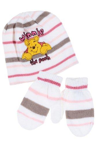 Bonnet et moufles bébé fille -4243-Winnie l'ourson écru/rose 18m/3ans