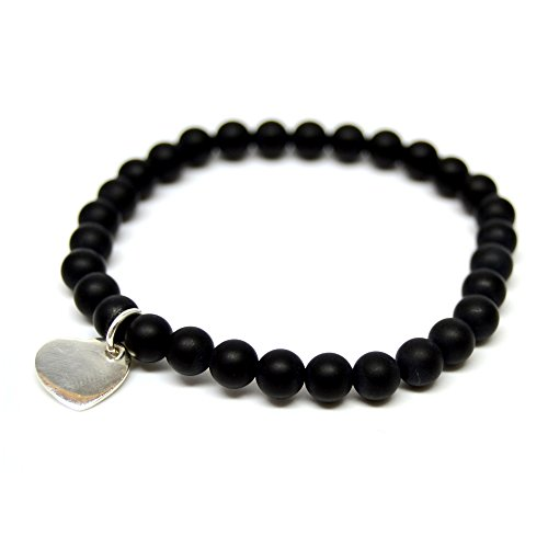 Linus Jade palla, Bracciale Black Pearls onice nero opaco in argento Sterling 925 A forma di cuore