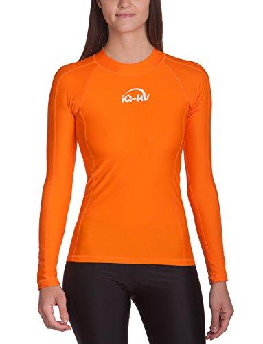 iQ-UV 300 Eng geschnitten, Langarm, UV-Schutz T-Shirt Camiseta con Manga Larga, Mujer, Naranja, XXS