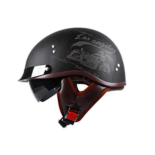 GAOZH Motorradhelm Vintage Halbschalenhelm,ECE Zertifizierung mit Visie Jethelm Für Damen Und Herren Erwachsene Oldtimer,Erwachsener Retro Mopedhelm Vintage Style Harley-Helm(55-62cm)