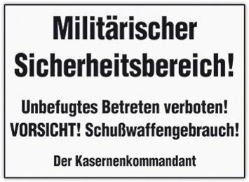 Unbekannt Militärischer Sicherheitsbereich Blechkarte Flach 10x15cm VP667